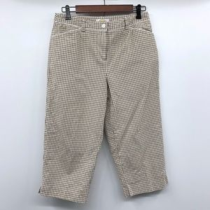 Talbots Brown White Gingham Cropped Capri Pants